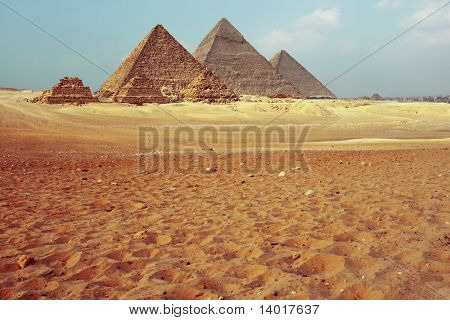 Giza valley with pyramids