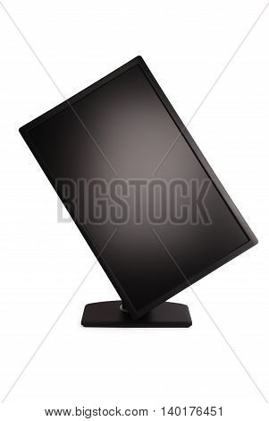 Black PC monitor white background with soft shadow (Clipping path)