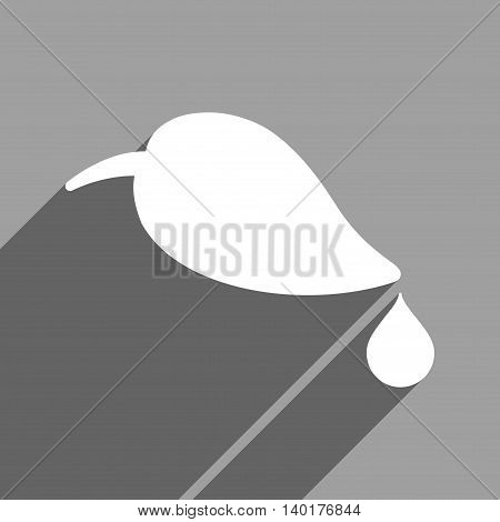 Ecology long shadow vector icon. Style is a flat ecology white iconic symbol on a gray square background.