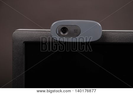 Web camera isolated on black background with soft shadow. Close-up