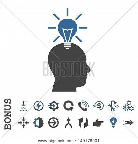 Genius Bulb vector bicolor icon. Image style is a flat pictogram symbol, cobalt and gray colors, white background.