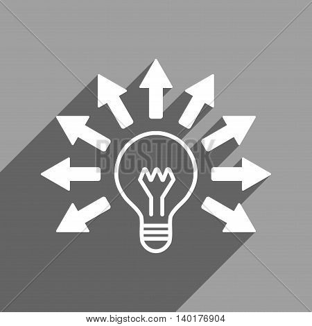 Electric Light Arrows long shadow vector icon. Style is a flat electric light arrows white iconic symbol on a gray square background.