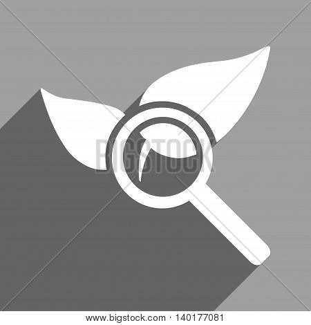 Explore Natural Drugs long shadow vector icon. Style is a flat explore natural drugs white iconic symbol on a gray square background.