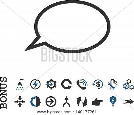 Hint Cloud vector bicolor icon. Image style is a flat pictogram symbol, cobalt and gray colors, white background.
