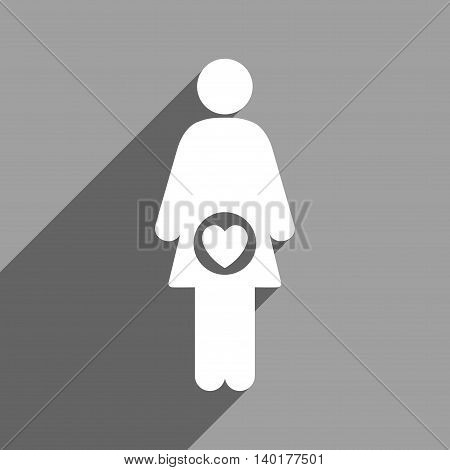 Fertility long shadow vector icon. Style is a flat fertility white iconic symbol on a gray square background.