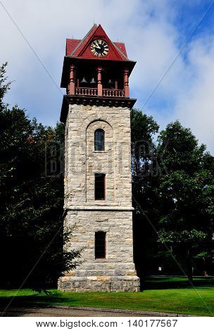 Stockbridge Massachusetts - September 16 2014: 1878 Children's Chimes Tower a gift to the town by NY lawyer David Dudley Field and the Rev. D. D. Fields of Stockbridge