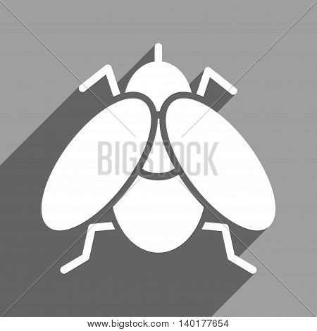 Fly long shadow vector icon. Style is a flat fly white iconic symbol on a gray square background.