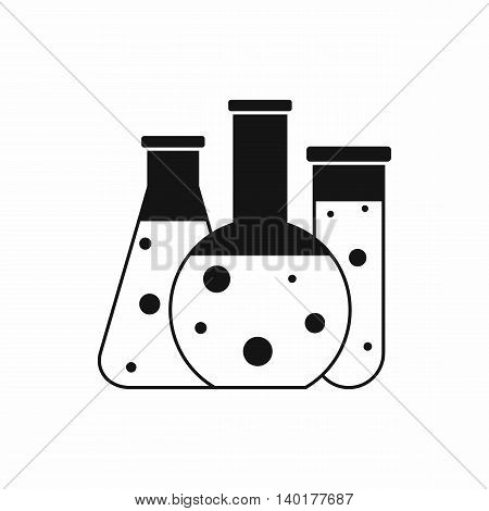 Laboratory flasks icon in simple style isolated on white background. Scientific research symbol