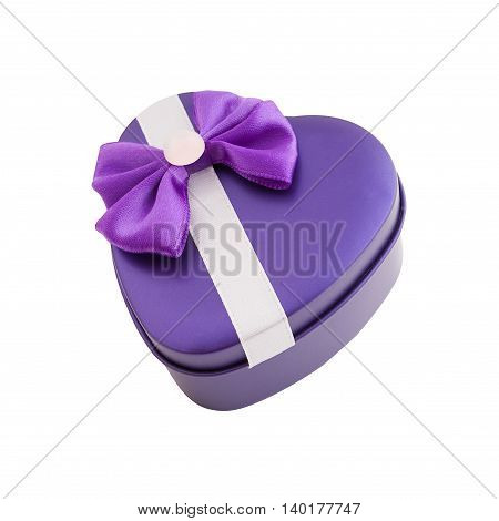 Metallic purple gift box shape heart with a bow isolated.