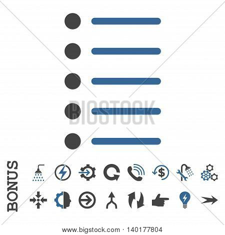 Items vector bicolor icon. Image style is a flat pictogram symbol, cobalt and gray colors, white background.
