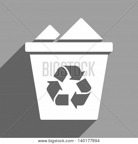 Full Recycle Bin long shadow vector icon. Style is a flat full recycle bin white iconic symbol on a gray square background.