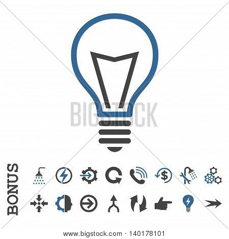 Lamp Bulb vector bicolor icon. Image style is a flat pictogram symbol, cobalt and gray colors, white background.