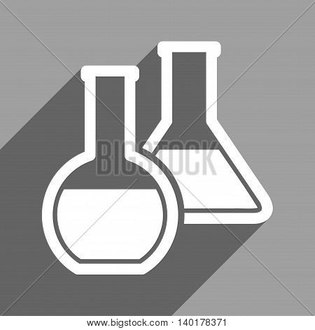 Glass Flasks long shadow vector icon. Style is a flat glass flasks white iconic symbol on a gray square background.