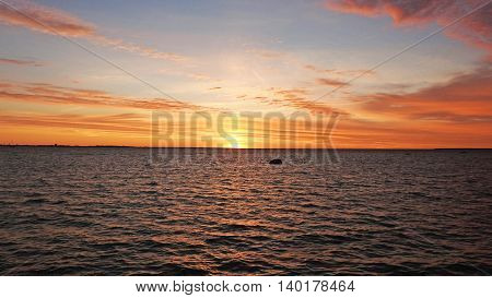 Sunset on Baltic Sea coast in Tallinn city.