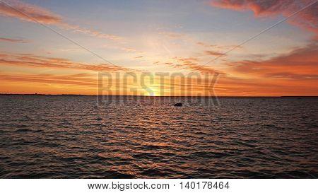 Sunset on Baltic Sea coast in Tallinn city.