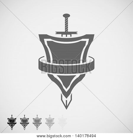 shield and sword icon round belt. Vector Illustration