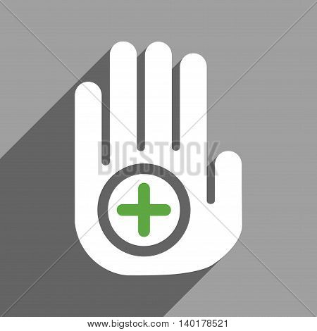 Hand Medical Marker long shadow vector icon. Style is a flat hand medical marker white iconic symbol on a gray square background.