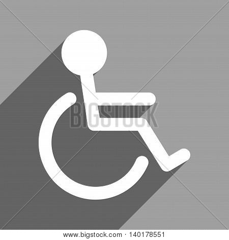 Handicapped long shadow vector icon. Style is a flat handicapped white iconic symbol on a gray square background.
