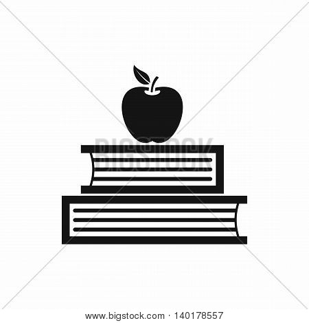 Books and apple icon in simple style isolated on white background. Reading symbol