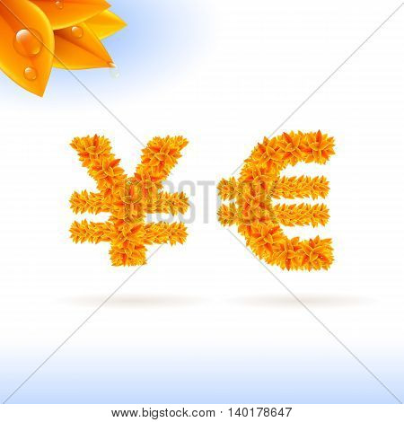 Sans serif font with autumn leaf decoration on white background. Yen and euro sign