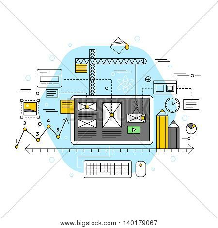 Mobile application flat concept creation and development abstract representation in linear style vector illustration