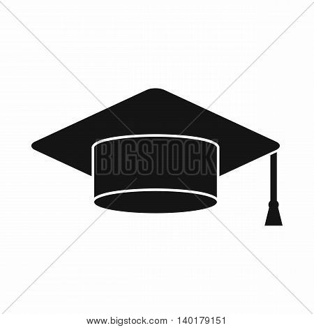 Cap student icon in simple style isolated on white background. Headdress symbol