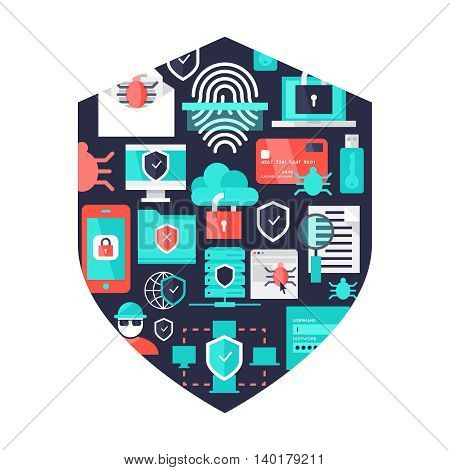 Computer security decorative  elements in shield shape with protected data and devices on blue background vector illustration