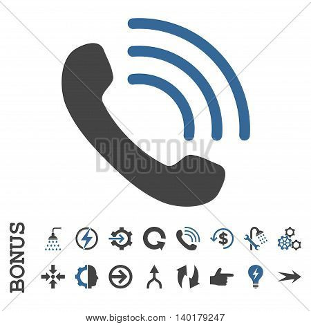 Phone Call vector bicolor icon. Image style is a flat pictogram symbol, cobalt and gray colors, white background.