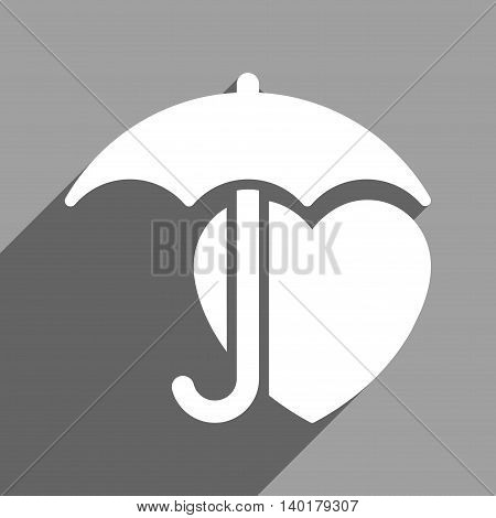 Heart Umbrella Protection long shadow vector icon. Style is a flat heart umbrella protection white iconic symbol on a gray square background.