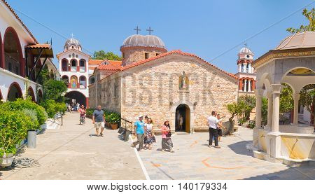 Evia, Greece 25 July 2016. People from all over the world are visiting the famous monastery of Saint David at Evia.
