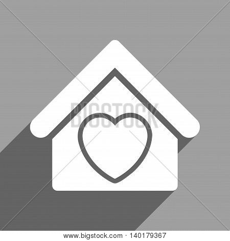 Hospice long shadow vector icon. Style is a flat hospice white iconic symbol on a gray square background.