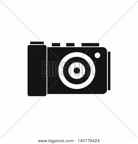 Photo camera icon in simple style isolated on white background. Shooting symbol