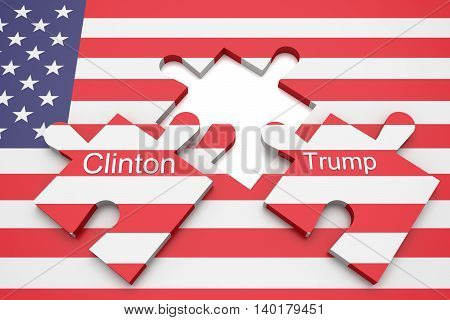 BERLIN GERMANY - JULY 27 2016: US election: Missing puzzle pieces Clinton and Trump with US flag 3d illustration