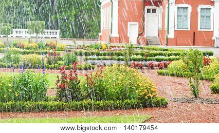 Rainy sunny day in park of Estonia. Kadriorg park