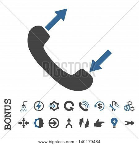 Phone Talking vector bicolor icon. Image style is a flat iconic symbol, cobalt and gray colors, white background.