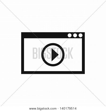 Program for video playback icon in simple style isolated on white background. Movies symbol
