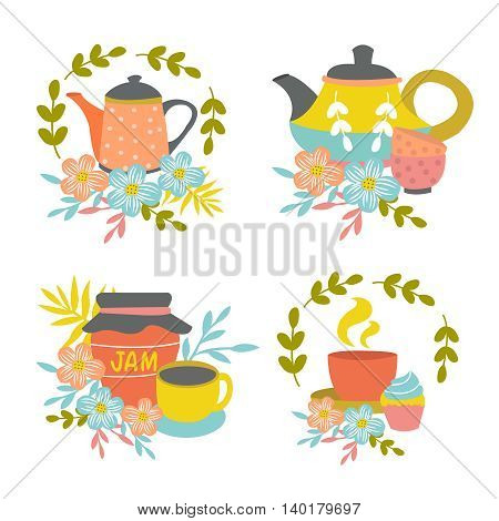 Hand drawn tea time compositions with pots cups jam jar wreaths leaves flower decoration isolated vector illustration