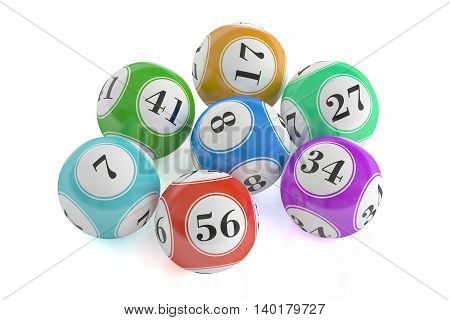 colored lottery balls 3D rendering isolated on black background