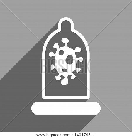 Infection Condom Protection long shadow vector icon. Style is a flat infection condom protection white iconic symbol on a gray square background.
