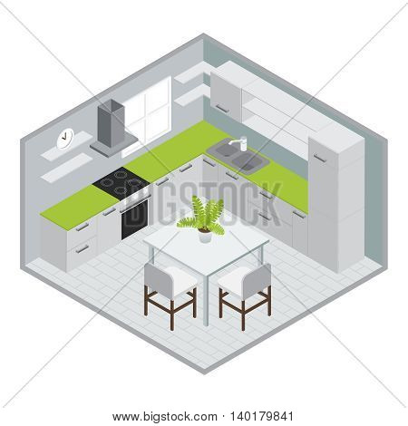 Room for cooking isometric design with white green kitchen furniture stove sink window tiled floor vector illustration