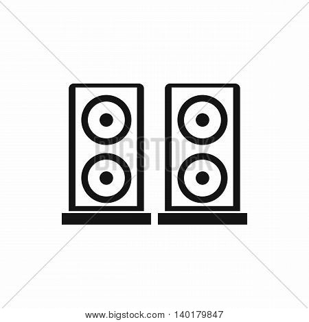 Music speakers icon in simple style isolated on white background. Listening music symbol