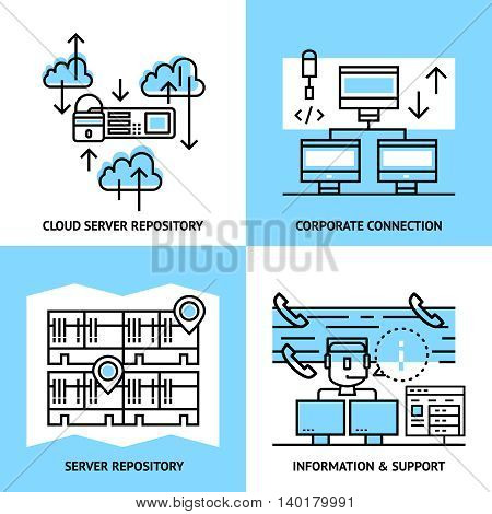 Datacenter linear compositions with cloud service server data warehouse corporate connection information and support isolated vector illustration