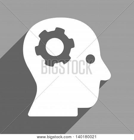 Intellect Mechanism long shadow vector icon. Style is a flat intellect mechanism white iconic symbol on a gray square background.