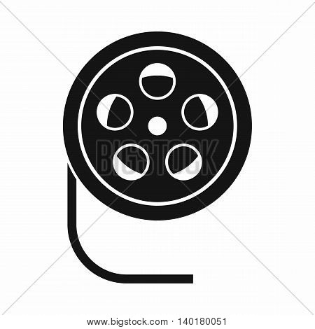 Reel with film icon in simple style isolated on white background. Video symbol