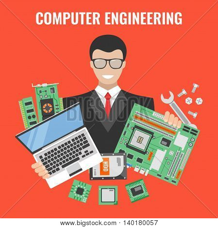 Computer engineering flyer with man in a suit with laptop and tools for repair vector illustration