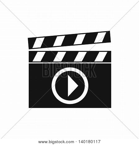 Clapperboard for movie shooting icon in simple style isolated on white background. Film symbol