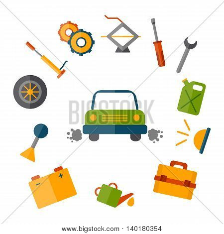 Vector car repair icon. Cartoon cute objects for car design. Car service or garage concept. Equipment tools objects for break car work. Vector cartoon car repair illustration