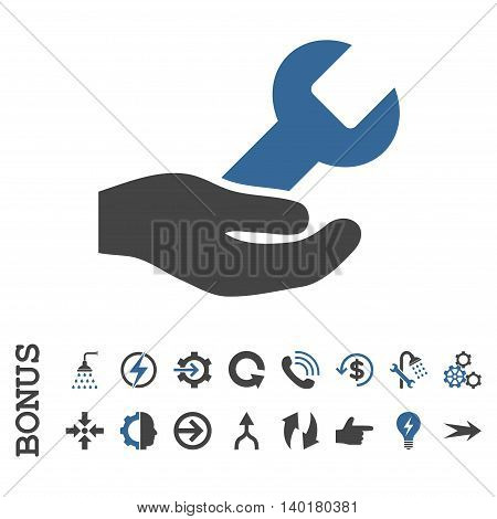 Repair Service vector bicolor icon. Image style is a flat iconic symbol, cobalt and gray colors, white background.