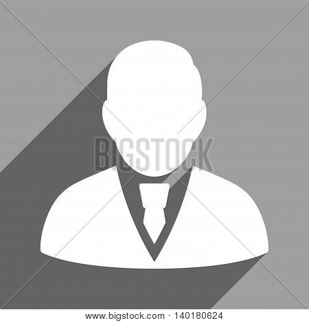 Manager long shadow vector icon. Style is a flat manager white iconic symbol on a gray square background.