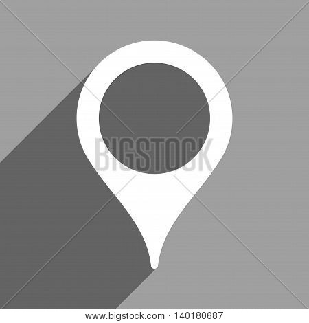 Map Marker long shadow vector icon. Style is a flat map marker white iconic symbol on a gray square background.